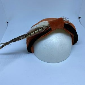 Vintage Orange, Tan, & Brown Feather Hat